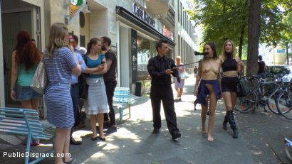 Coco Chanal gets publicly fucked, stripped naked and humiliated on the streets of Berlin. Coco's porno virginity taken with a spectacular DP!