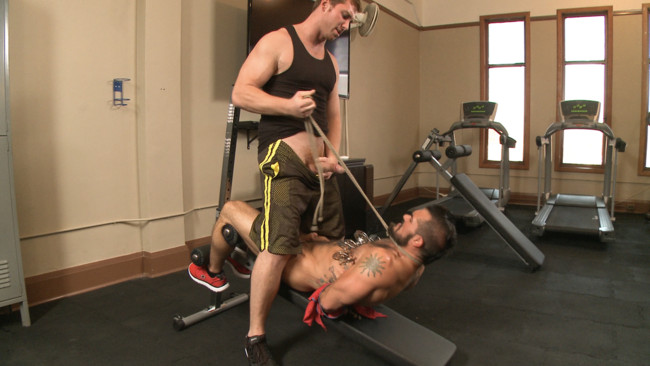 Bound Gods - Connor Maguire - Aarin Asker - Ripped gym rat Aarin Asker takes a giant fist while in suspension #11