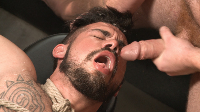 Bound Gods - Connor Maguire - Aarin Asker - Ripped gym rat Aarin Asker takes a giant fist while in suspension #3