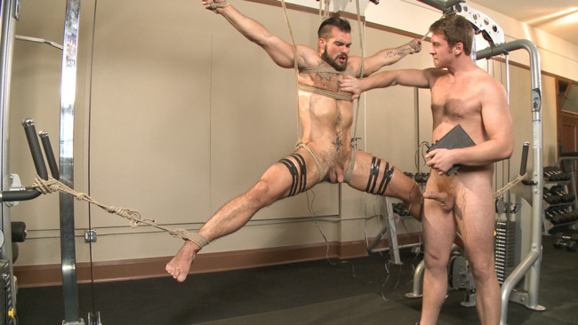 Bound Gods - Connor Maguire - Aarin Asker - Ripped gym rat Aarin Asker takes a giant fist while in suspension #6