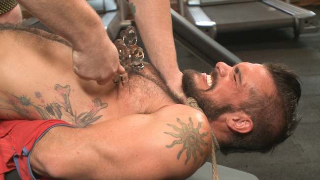Bound Gods - Connor Maguire - Aarin Asker - Ripped gym rat Aarin Asker takes a giant fist while in suspension #7