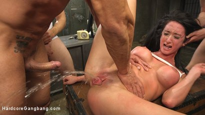 Gangbang virgin begs to have her holes brutalized until she squirts all over!