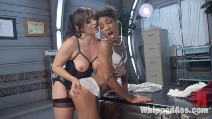 Crazed lesbian patient spanks and fucks hot nurse. Innocent nurse submits to exciting lesbian patient enduring crazed medical exam including the speculum, a vaginal probe and arse strap-on fucking!