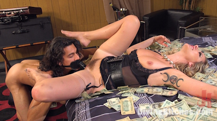 Financial dominatrix is spending time with another slave: taking his money and letting him cum eventually
