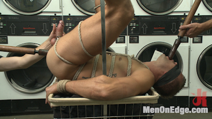 Cute guy overpowered and edged in the laundromat