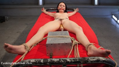 Super hot fuck slut gets railed by machines while in tight bondage!!