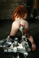 Sexy red headed amatuer does DP with machine, The Predator