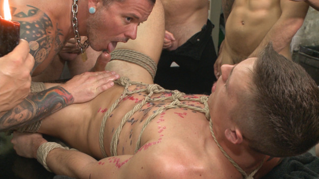 Bound in Public - Tyler Rush - Rocco Steele - Ruckus - Edged, tormented and gang fucked in a dirty laundromat #15