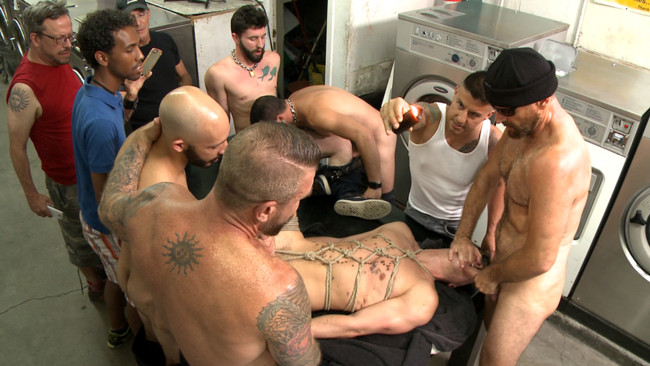 Bound in Public - Tyler Rush - Rocco Steele - Ruckus - Edged, tormented and gang fucked in a dirty laundromat #8