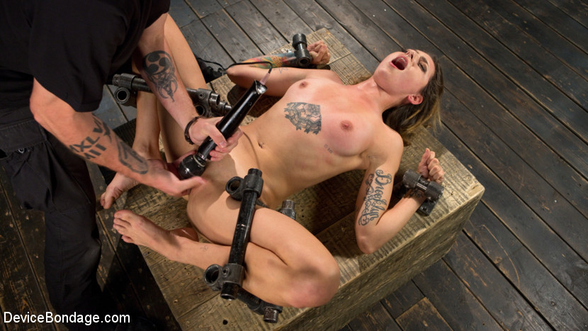 Helpless whore begs for more. We begin with Missy locked into a neck trap that allows me to move her around as I need to. There are three stations that I have set up to tormented her in. Front and center allow me to issue extreme punishment, the left is a clamp that can be applied anywhere, and on the right is a dildo set for fuck her throat and be used as a gag. The second position puts Missy's butthole in the air to abuse and punish. Her arms are spread out and locked to the floor. The flogging is brutal, the whip is menacing, but the cane utterly destroys our little Minks. To finish her off she is fuck in her vagina, vibed and then a thumb is shoved in her butthole to complete the package.In the final scene we have Missy on her back and spread wide for all to see. She is completely helpless and we take full advantage of that. She is flogged mercilessly until she can't take it any more, then caned to her breaking point. More orgasms flow from her vagina and the day closes with some extreme breath play.
