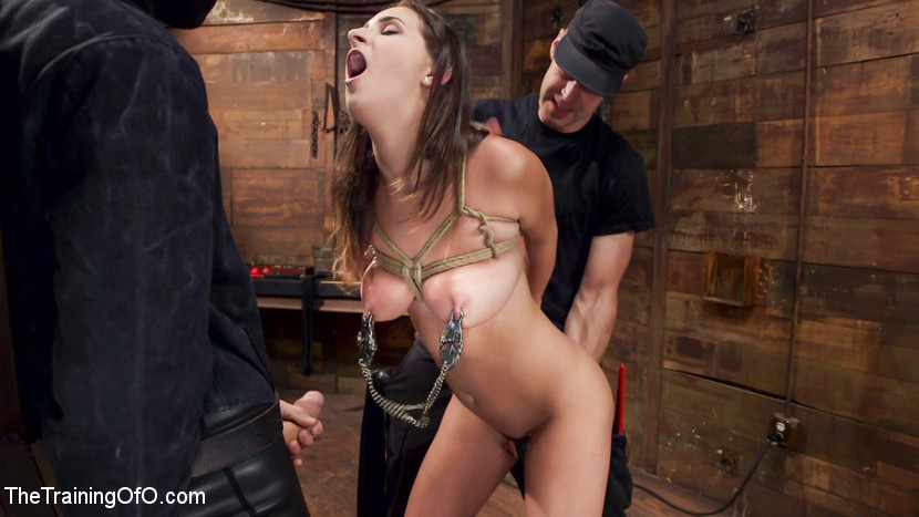 Ashley adams slave desires training ashley day one. Ashley Adams is an all natural heavy tit sex addict with a complaisant streak that takes her down to the very base of the cock. Ashley's elegant boobs are tied, whipped, clamped, drooled and slobbered on as she gags down thick gimp dick.When it is time to fuck, Ashley sweats and bounces her fat boobs while stuffing her slutty cunt with heavy man meat. As a reward for her fine behavior, nipple zippers are torn off as her tight cunt spasms in orgasm. Ashley Adams learns the rough side of servitude on Training of O.