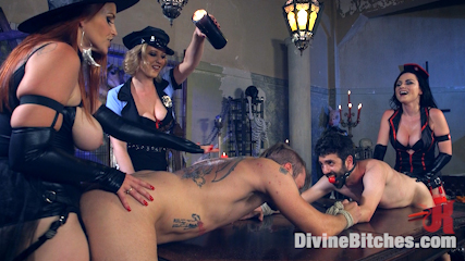 Femdom ladies are having something special for the Halloween party: kinky costumes and two men to punish and fuck