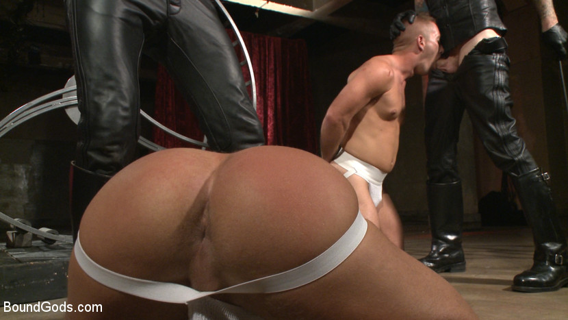 image Gay male bareback bound piss an cum in ass