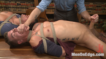 School punks take a double edging punishment. Delinquent students get a lesson in restraint and self control from Sebastian Keys and Branden Forrest