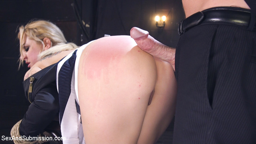 Taking down a club slut. Sultry Dahlia Sky will do absolutely anything to get into an exclusive club, and when she tries to give suck the door man she is taken to the back room where she is tied down and make love mercilessly in the arse till she admits what a scheming whore she really is.