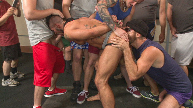 Bound in Public - Connor Maguire - Aarin Asker - Logan Taylor - Connor Maguire's Gym Slave Takes on a Weight Room Full of Cocks #6