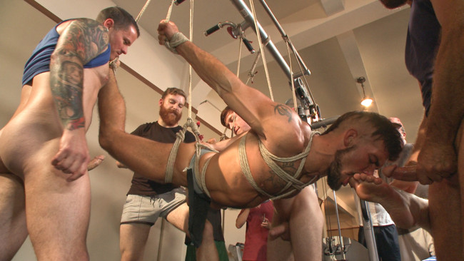 Bound in Public - Connor Maguire - Aarin Asker - Logan Taylor - Connor Maguire's Gym Slave Takes on a Weight Room Full of Cocks #9