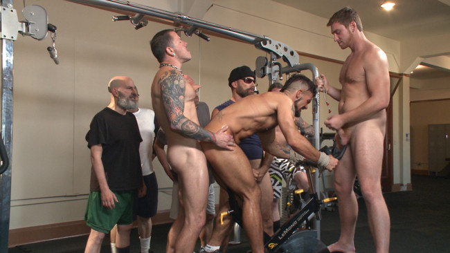 Bound in Public - Connor Maguire - Aarin Asker - Logan Taylor - Horny gym goers dump their loads on a muscled gym rat #12