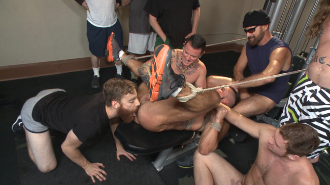 Bound in Public - Connor Maguire - Aarin Asker - Logan Taylor - Horny gym goers dump their loads on a muscled gym rat #6