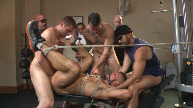 Bound in Public - Connor Maguire - Aarin Asker - Logan Taylor - Horny gym goers dump their loads on a muscled gym rat #8
