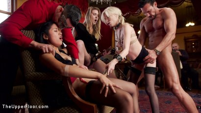 Petite beauty Piper is served hot & fresh to a crowd of horny women and is skewered on a huge cock. Casey receives punishment ass fucking & zippers.