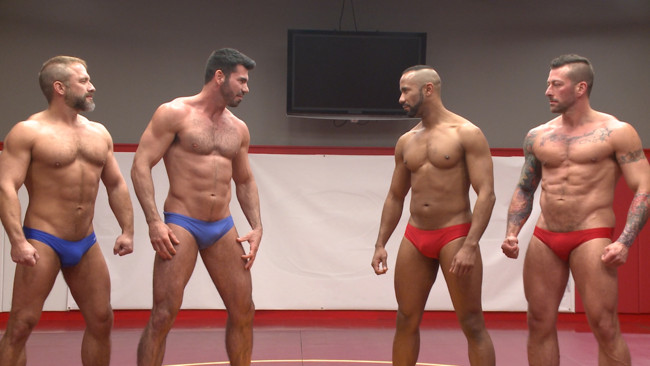 Naked Kombat - Dirk Caber - Billy Santoro - Hugh Hunter - Troy Sparks - Muscle on Muscle: Live Tag Team Oil Match Between 4 Ripped Hunks! #15