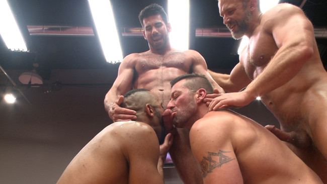 Naked Kombat - Dirk Caber - Billy Santoro - Hugh Hunter - Troy Sparks - Muscle on Muscle: Live Tag Team Oil Match Between 4 Ripped Hunks! #8