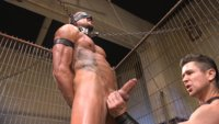 Trenton Ducati goes to town on this Kink.com fresh meat Dolf Dietrich. Strapped down Trenton beats, spins and fucks Dolf's meat hole.