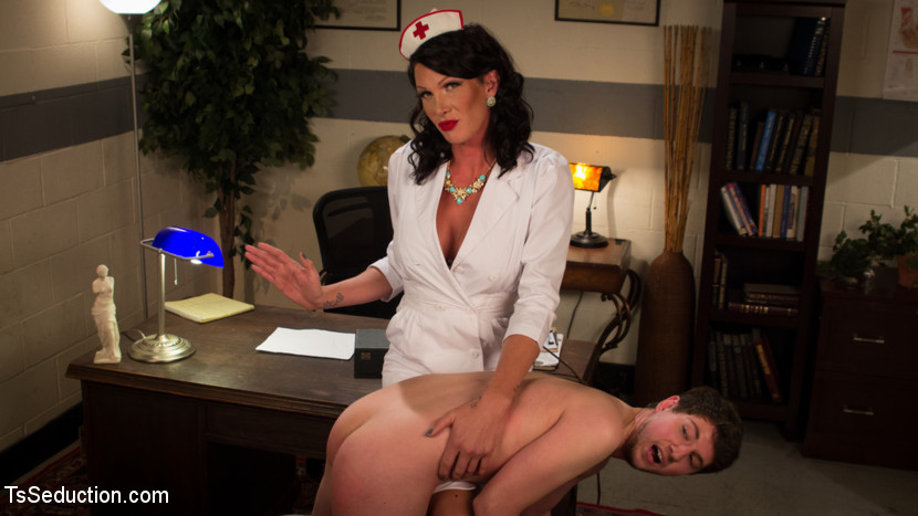 Morgan bailey and her huge load of cum. Grayson is a college student which means he's broke! He answers an ad to make some fast cash and soon finds himself in a kinky world run by devastatingly lascivious nurse, Morgan Bailey, and she has a penish!!! Grayson really doesn't know what to do other than blowjob that penish and he can barely control himself because he is so turned on by having his TS cherry popped by this towering beauty! In the end you have never seen such a huge fat load from Morgan Bailey quite like this sprayed right on to his lips!