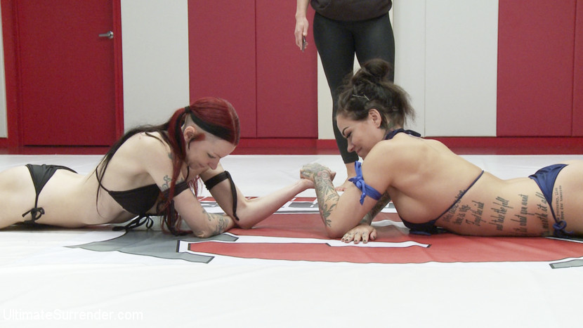 Rookie utterly destroyed on mat with orgasms. One rookie shows pure domination. She pins her opponent and fingers her non stop making her cum again and again.Karmen Karmen came here to do two things: Make bitches cum and blowjob bubble gum and she's all out of bubble gum. Karmen dominates her opponent with one hand in the cunt and one hand making a flex all while she blowjobs bubble gum making it look sooooo easy.Unfortunately the winner of this match retired from porn before the end of the tournament so she forfiets. We will update what would have been her next match in the tournament with the light weight championship match instead.