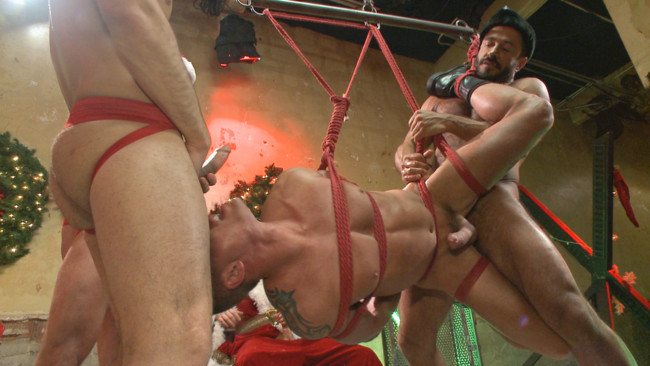 Bound in Public - Rex Cameron - Vinnie Stefano - Connor Maguire - Muscled submissive whored out by santa for the holidays #12