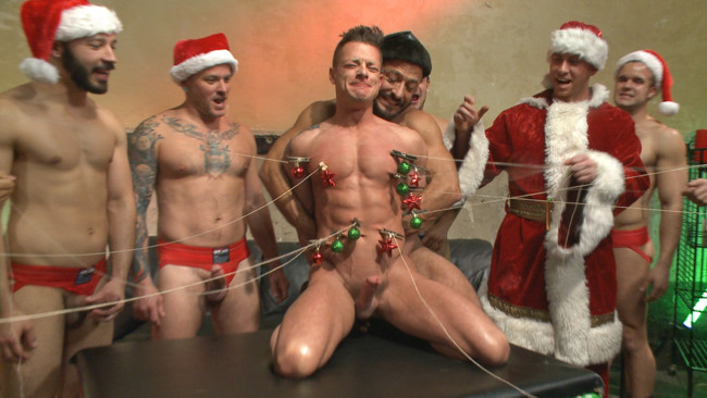 Bound in Public - Rex Cameron - Vinnie Stefano - Connor Maguire - Muscled submissive whored out by santa for the holidays #10