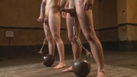 These two slaves endure a grueling BDSM obstacle course: Who will win a face full of Christian Wilde's jizz?