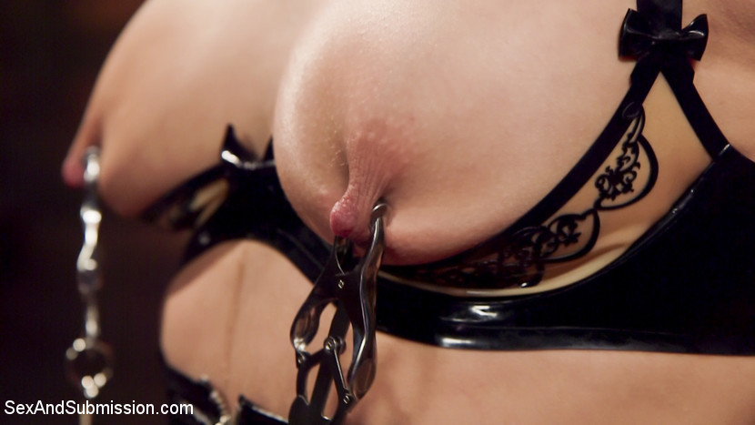 Abella s deep anal submission. Abella Danger loves heavycore BDSM and violent bottom sex, and is more than happy to give it up to Bill Bailey in the dungeons of Kink.com. Abella shows off her beautiful boobs and arse in a skin tight latex hobble skirt and leather bondage. She begs for the whip, gags and nipple clamps, and eagerly chokes down Bill's hefty cock. When her cunt is clamped shut and her arsehole fuck heavy in tight bondage, Abella's orgasms send her into deep bottom submission.