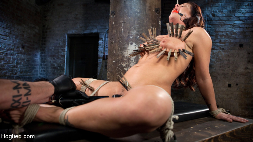 Pain bitch suffers with a smile in brutal bondage. Holly Heart
