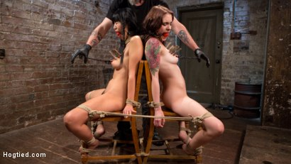 Grueling predicament bondage, torment, flogging, nipple clamps, choking, pussy licking, and massive orgasms