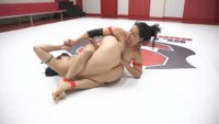 Too Many Orgasms from the sex fight, leaves one of these girls useless on the mats.