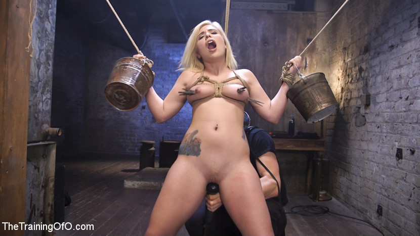 Slave training rikki rumor. Cute blonde loves to be taught discipline and servitude while getting have sexual intercourse massive by brutal slave trainers.