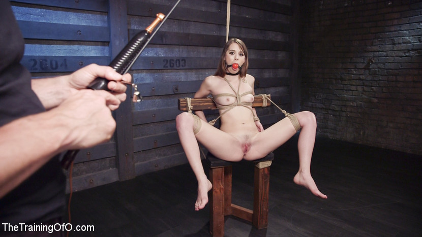 All natural beauty learns to beg for dick. Zoey Laine learns the massive principles of Gratitude, Eye Contact and Availability at the end of a stick on Training of O. Zoey loves nipple clamps, canes, gags, bondage and getting fuck massive with totally helpless.
