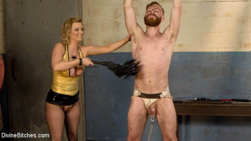 Appealing boy slave humiliated and pegged by dominatrix cherry