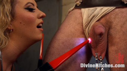 Facesitting training becomes much more effective when dominant blond is using lots of plastic tape to bind her slave