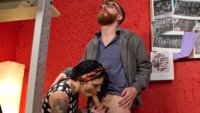 Chelsea Marie's raging hard TS cock fucks fanboy deep in the ass then covers his face and beard with her delicious cum!