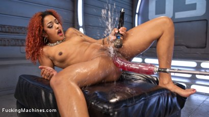 Massive squirting orgasms from machine fucking her pussy and ass, then stretching her pussy as much as possible with a huge dildo!!
