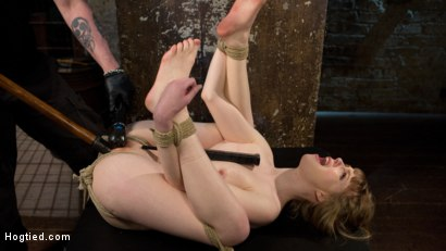 Cute red head is helpless in tight bondage, tormented and dildo fucked into orgasmic bliss!!