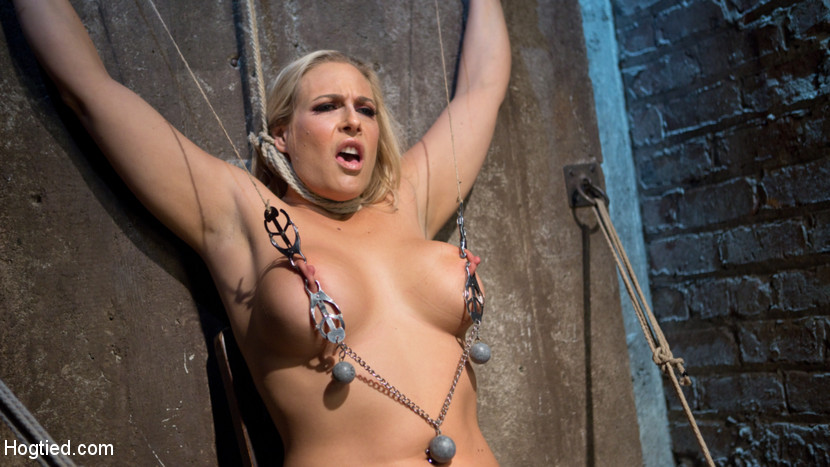 Big tit blonde milf bound tortured and made to ejaculate. Angel is a Hogtied dream girl with her big tits, blonde hair, tan skin, and full figure. The one thing that is missing is putting some rope on this slut an treating her like the other whores we see. Her nipples are tortured and stretched, her body abused with canes and floggers, her vagina fucked, her feet subjected to bastinado, and non stop orgasms ripped from her whore vagina.