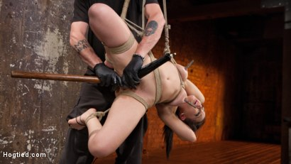 Feisty brat is captured in rope bondage and tormented before being allowed to cum!