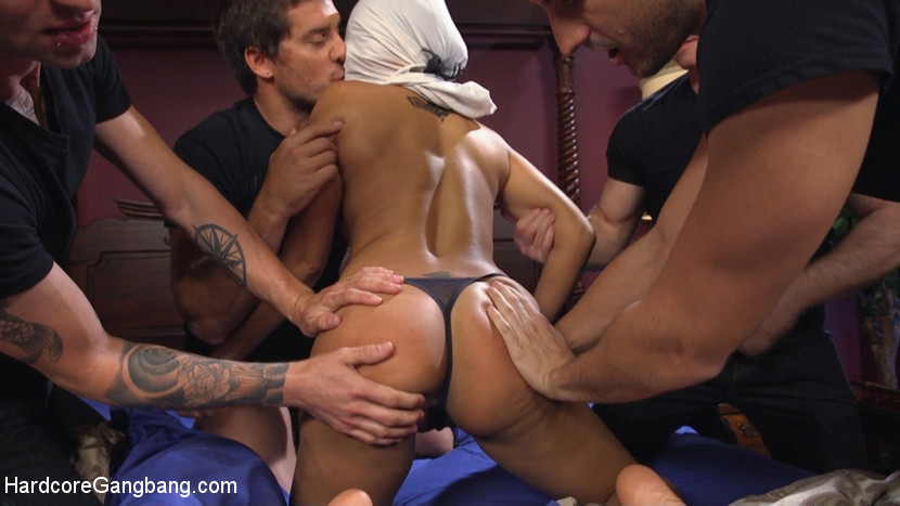 Slut girlfriend gets all holes filled and have sex. Gorgeous, all natural slut girlfriend, Yasmine DeLeon, thinks she's being sneaky fuck around on her stud boyfriend, Ramon Nomar, with his friends. The guys discover this dick loving whore has been fuck them all so they plan to gangbang her and give her all the dick she wants all at once!!! Yasmine takes all the dicks in all the holes all at the same time which leave her glazed with so much cumshot she's practically drowning in it.