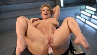 Hot blonde fuck girl is pounded in her ass and pussy with machines until she squirts!!