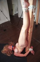 Voluptuous 40+ year old woman in bondage.