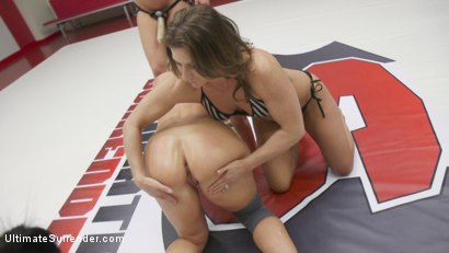 Cheyenne Jewel vs.  Savanna Fox. Loser hand gagged, fucked hard while the winner flexes her beautiful muscles to show off her power and to mock her